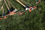 Pick axes lie in the grass in front of the Hope Center at Elizabeth and E. Bruce Randolph for...
