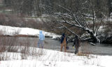 A few anglers braved the weather on Easter Sunday 2007 to fish the South Platte River upstream...