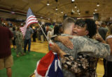 Martha Antonio (cq) from Colorado Springs welcomes family friend, 19 year-old Special Scott...