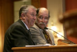 Co-Sponsors Senator Ken Kester (R-Las Animas), left, and Rep. Wes McKinley (D-Walsh) defend...