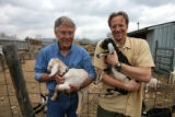 Jim Schott (cq), left, owner of Haystack Mountain Goat Dairy farm, and Will Paradise (cq), of...