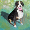 Dog paintings.  Blue and Bacchus, March 2 and 3, 2007.  Blue on chair 2006.   (ELLEN JASKOL/ROCKY...