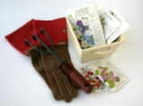 GARDEN: Garden gloves from Red Envelope ($26), planter at a thrift shop ($2). Seed packets $4.99,...