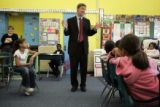 Mayor John Hickenlooper visits with third graders in Dawn Romero's class at Stedman Elementary...