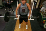 MJM314 University of Denver basketball player, Brooke Meyer (cq) goes through some power cleans as...