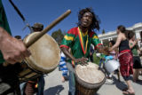 "DLM0577  Master Drummer Fara Tonlo leads the African drum group Kissidugu, which means ""a..."