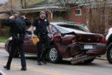 Denver Police investigate an officer involved accident after the officer was rear-ended by another...