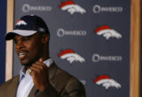 DLM0493  Denver Broncos' second round draft pick, 56th overall, University of Texas defensive end...