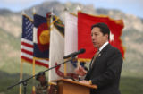 (Colorado Springs, Colo., May 25, 2004) Colorado Springs Mayor Lionel Rivera speaks at an...