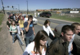 BG1267 Students are escorted to a Mormon Church across from Ponderosa High School where they were...