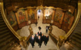 (DLM3819) -  Colorado Govenor Bill Ritter, second from left, makes his way up the stairs on his...