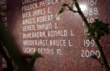 (DENVER, Co. - SHOT 3/28/2005) Photo of Bruce L. Vanderjagt's name on the Denver Police...