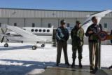 (DLM1617) -  With Major Jim Wolfeinbarger with the Colorado State Patrol, from left, and Army Maj....