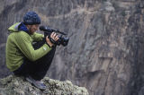 Peter Mortimer shooting climbers in the Black Canyon of the Gunnison, Colorado, for the film First...