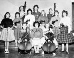 Cheryl w/ cello scanned photo from yearbook, The Chip 1961