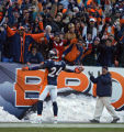 In the second quarter, the Denver Broncos Champ Bailey (#24, CB) celebrates in the end zone as...