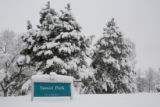 Sunset Park at 2:16 pm during the second large snow storm in Westminster, Colo. on December 29,...