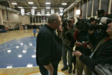George Karl gathers his thoughts before speaking with the media Monday morning Dec. 18, 2006...