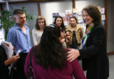 MJM099  U.S. Rep. Diana DeGette, right, talks with Alicia Figueroa , center, in Degette's Denver...