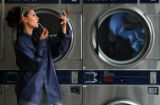 [JPM125]  Wash and wear clothes with Heather as Smiley's laundromat in central Denver.Men's navy...