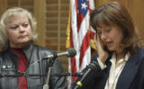 (DENVER, Colo., Mar. 29, 2005) Mimi Schaefer (cq) 43, of Arapahoe County, wipes a tear as she...