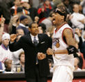 Sixers Allen Iverson yells after the clock expires in the 76ers 85-81 win over the Lakers. Iverson...