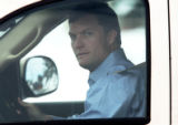 [JPM0461] Denver Broncos safety John Lynch drives from the team's headquarters after a private...