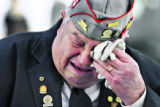 (DLM4515) -  All Veteran's Honor Guard member Paul Ritchlin weeps for his friend and comrade...