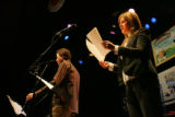 Nick and Helen Forster, hosts of etown, talk to the audience during the show, which starred...