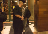 New acquired guard Allen Iverson makes his way in the north entrance of the Pepsi Center at 5:46...