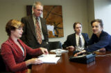 (DENVER, Colo., Mar. 29, 2005) Dan Recht (cq, standing) attorney for Denver residents Karen Bauer,...