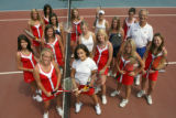2006 All-Colorado girls tennis team members (left of net, front to back) Victoria Sargent, 17, of...