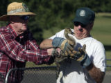 L to R :John Baker (cq) and Al Wilson (cq), both volunteers for the Colorado Division of Wildlife,...