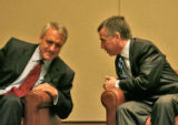 Gubernatorial candidates Bill Ritter, left, the Democratic candidate, and Marc Holtzman, right, a...