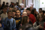 (COLORADO SPRINGS, CO Shot on 4/14/05) Schoolchildren at Skyview Middle School in the Falcon...