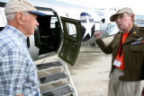 Herbert Connelley, cq, former 305th Bomb Group B-17 pilot in WWII and Dale F. Baird Sr., cq,  a...