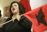 "(DENVER, Colo., March 31, 2005) Yolando Ortega- Ericksen (cq) sings in a skit from ""Papi ..."