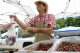 Thomas Cameron (cq) of Palisade, CO sells a pound of cherries at Denver's new weekly Farmer's...