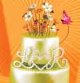 A Sparklicious crystal bouquet trumpets 'bling' from the top of this glimmering emerald cake, fit...