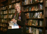 Joyce Meskis, (cq), owner of the Tattered Cover bookstore sits in her store located in LoDo Friday...