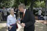 060606 Washington D.C.  -  US Senator Wayne Allard (R-CO) talks to Carol Pinto after giving a...
