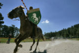 Richard Alvarez (cq) practises his jousting skills. In the games he is Sir Richard, Earl of...