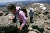 Julie Pitts (cq), and her mother Martha Pitts (cq), hike to the top of Mt. Bierstadt near...
