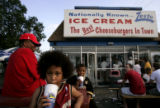 Tray Shobe (cq), left, 7, and cousin LeRon Adkins (cq), 8 ,right, cool off with a shake from...