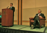 Marc Holtzman, left, Republican candidate for governor, speaks while Bill Ritter, the Democratic...