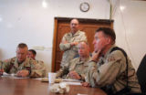 04/08/2005 Iraq-LTC Ross Brown, right, commander of Thunder Squadron, 3rd ACR, looks at...