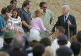 Former President Bill Clinton attends the groundbreaking for the Columbine Memorial in Littleton...