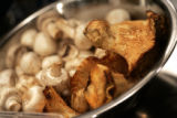Mushrooms wait to be used for a dish by New York City's Alexandra Guarnaschelli during the...