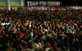 A large crowd of Iowa voters wacthes as Oprah Winfrey campaigns with Democratic Presidential...