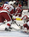 The Colorado Avalanche's Paul Stastny's shot is blocked by   Detroit Red Wings' goaltender Dominik...